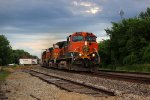 BNSF 1119 leads a Wb stack train Thur la Plata racing the storms.